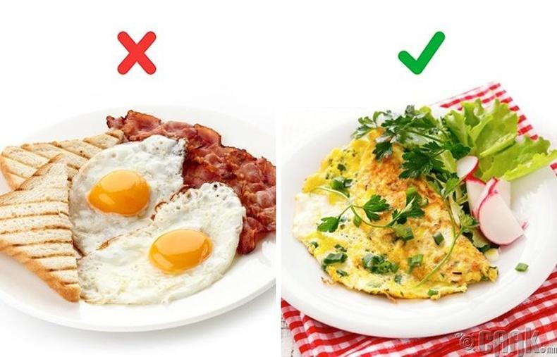 Гахайн шарсан мах, өндөг бол төгс өглөөний хоол