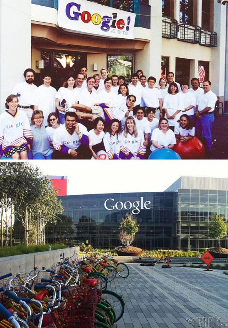 1900 оны үеийн Google компанийн оффис ба одоогийн оффис