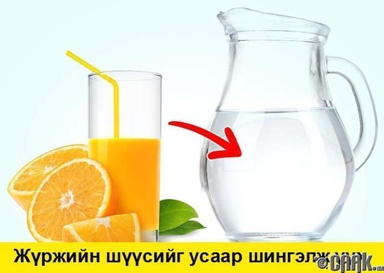 Цитрусын төрлийн ундааг шингэлж хэрэглэ