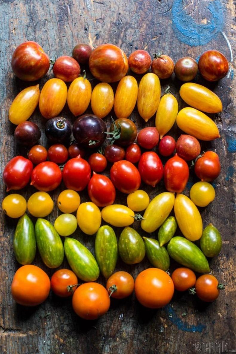 Интоор, усан үзэм, үрлэн улаан лооль