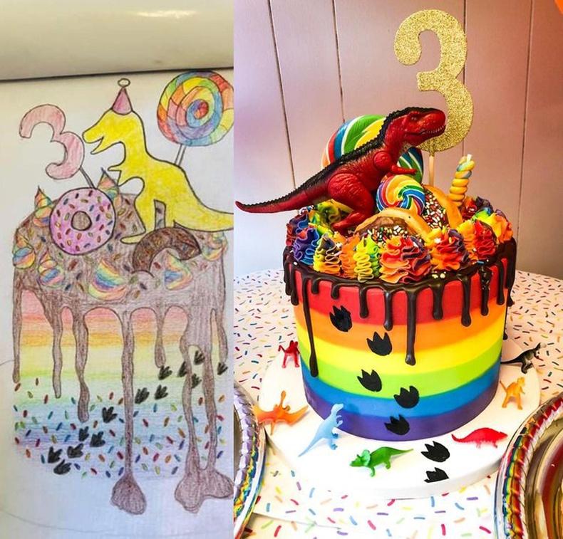 Хүү маань 3 насны төрсөн өдрөөр үлэг гүрвэлтэй бялуу идэхийг хүссэн учраас бий ийм зураг зураад өгсөн юм. Тэгтэл яг зурган дээрх шигийг хийжээ
