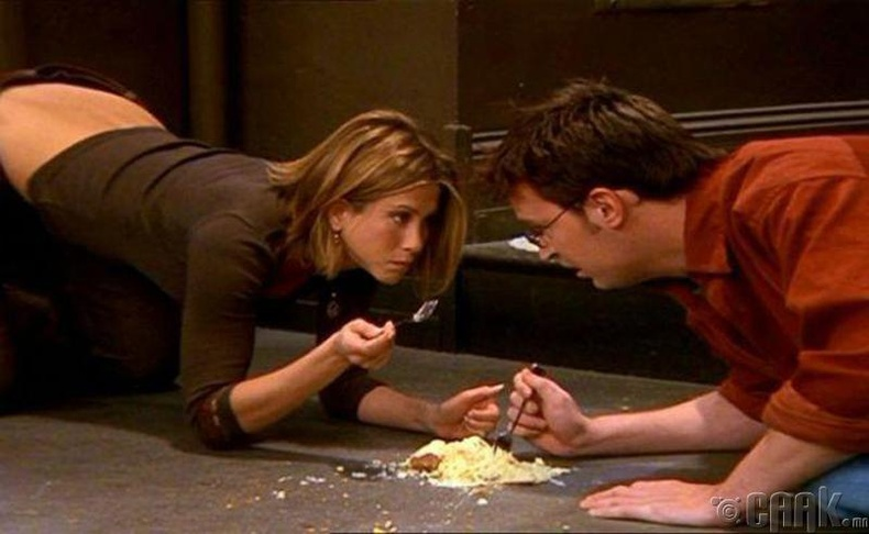 Шалан дээр унасан хоолыг авч иддэг
