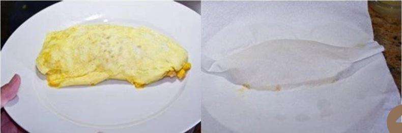 Хэрвээ их тостой бол ослетоо хүсний цаасаар ороож тосыг шингээж аваарай. Үлдсэн орцоороо дараагийн омлетоо хийж болно. Бэлэн болсны дараа дээр нь кетчупээр хүссэн зүйлээ зурж чимэглээрэй