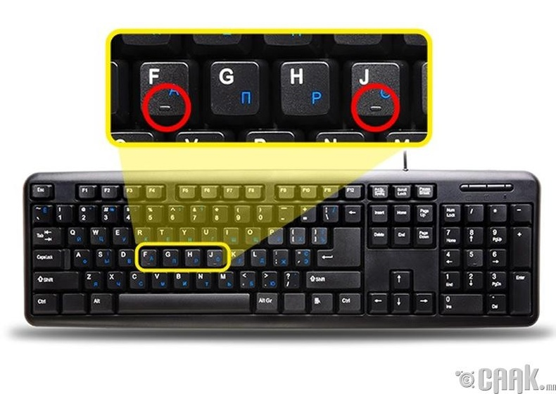 """Компьютерийн гарны """"F, J"""" үсэгнүүд дээр хуруугаа зөв байрлуулахад туслах товгор байдаг"""