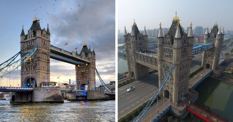 Лондон дахь Tower Bridge, үүний Хятадын Сужоу хот дахь хуулбар
