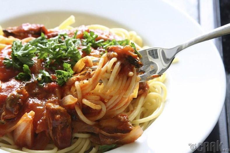Шпагетти идэж байгаа бол...