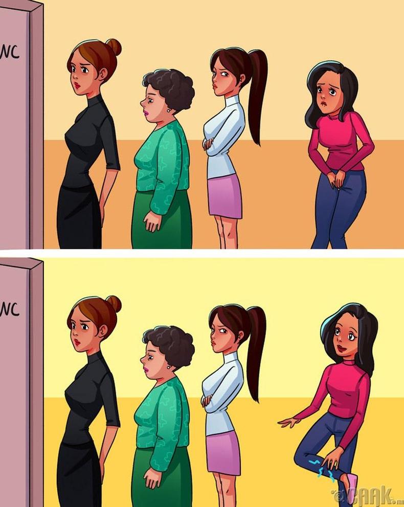 Ариун цэврийн өрөө орохыг маш их хүсэж байвал шилбээ маажаарай