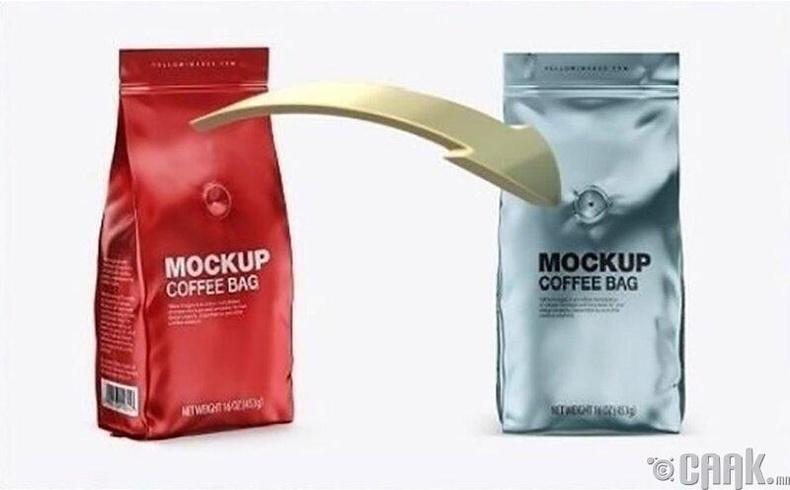 Кофены уутан дээр байдаг нүх