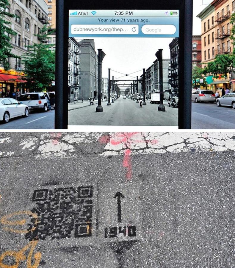Нью-Йорк хотод ямарваа нэг газрын өнгөрсөн үеийг харъя гэвэл тусгай QR кодыг ашиглаж болно