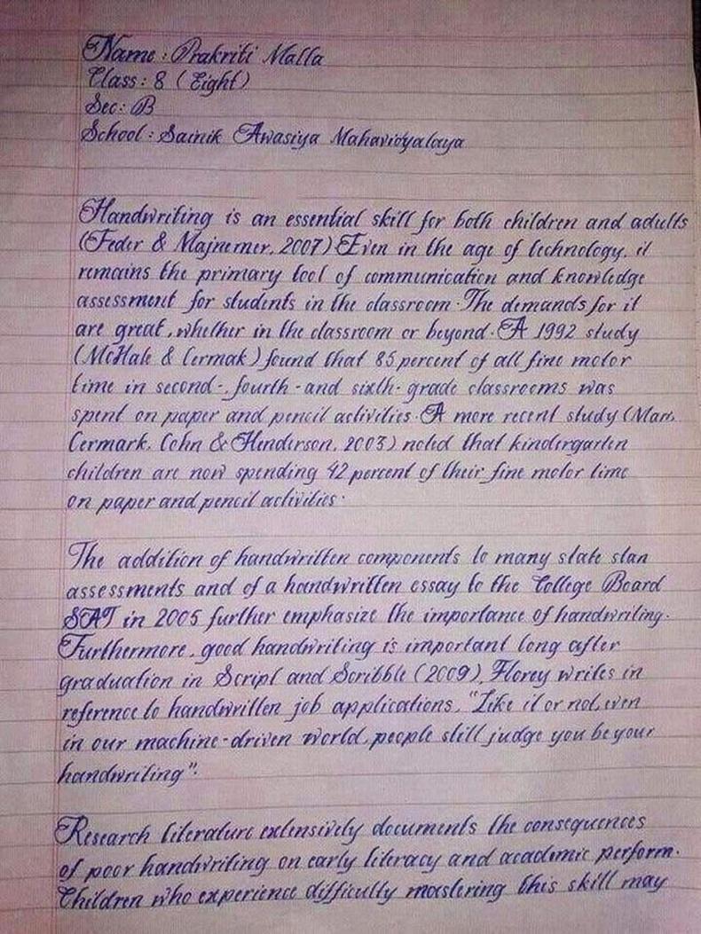 Балбаас гаралтай 15 настай оюутан Пракрити Малла дэлхийн хамгийн сайхан бичгийн хэвтэй охиноор тодорсон аж