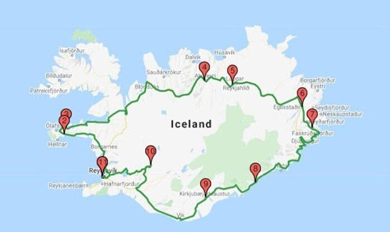Исландыг 24 цаг хүрэхгүй хугацаанд тойрч болно