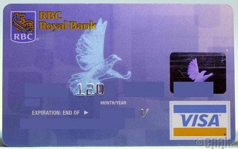 Банкны виза карт дээрх тагтааны дүрс