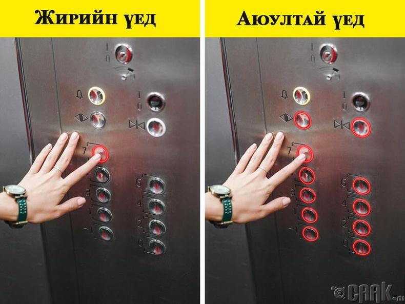 Үл таних сэжигтэй этгээдтэй  лифтэнд хамт суувал бүх давхрын товчлуур дээр дараарай
