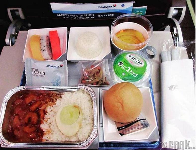 """Malaysia Airlines"" - Сам хорхой, будаа, чанасан өндөг, жимс"