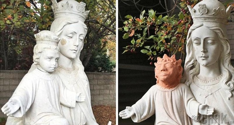 Канадын Садбури хот дахь уг баримлын Есүсийн толгойг хулгайд алдсаны дараа дахин сэргээжээ