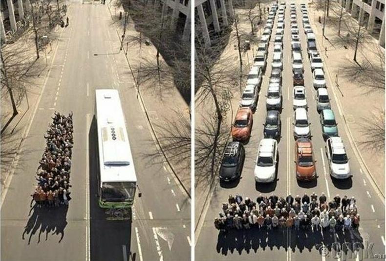 Замын түгжрэлтэй тэмцэхийн тулд нийтийн тээврээр зорчих хэрэгтэй гэдгийг харуулсан сурталчилгаа
