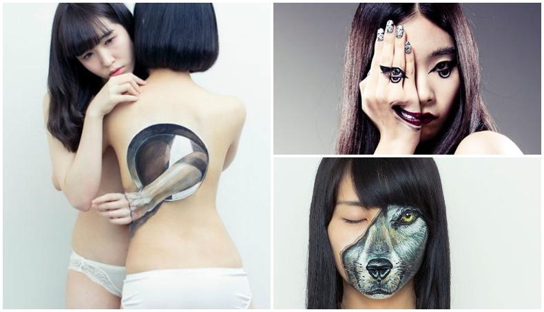 Бүсгүй хүний биеийг бийр, будгаар хувиргадаг Япон артистын бүтээлүүд