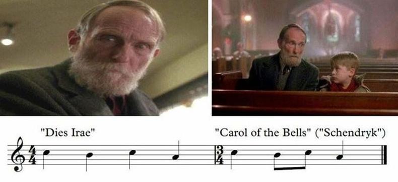 """Кевин өвгөн Марлитай анх таарахад үхлийн талаар өгүүлэх """"Dies Irae"""" аялгуу явж эхэлдэг. Харин Кевин түүнтэй танилцсаны дараа найрал дуучид""""Carol Of The Bells"""" дууг дуулж эхлэх нь хүүгийн анхны сэтгэгдэлхуурамч байсныг харуулна."""