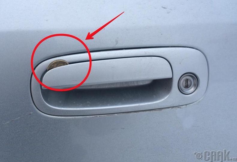 Таны машины хаалганд зоос байна уу?