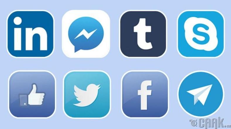 """Олон нийтийн сүлжээний """"цэнхэр"""" лого"""