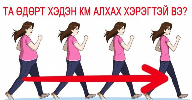 Жингээ хасахын тулд өдөрт хэдэн км алхах хэрэгтэй вэ?
