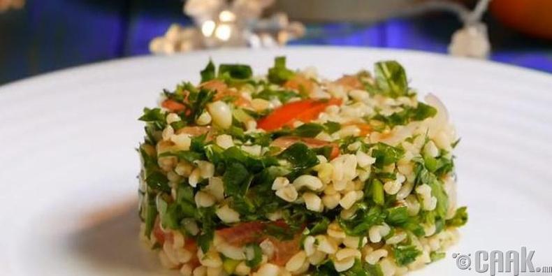 Буталсан буудай, лоольтой ногооны салат