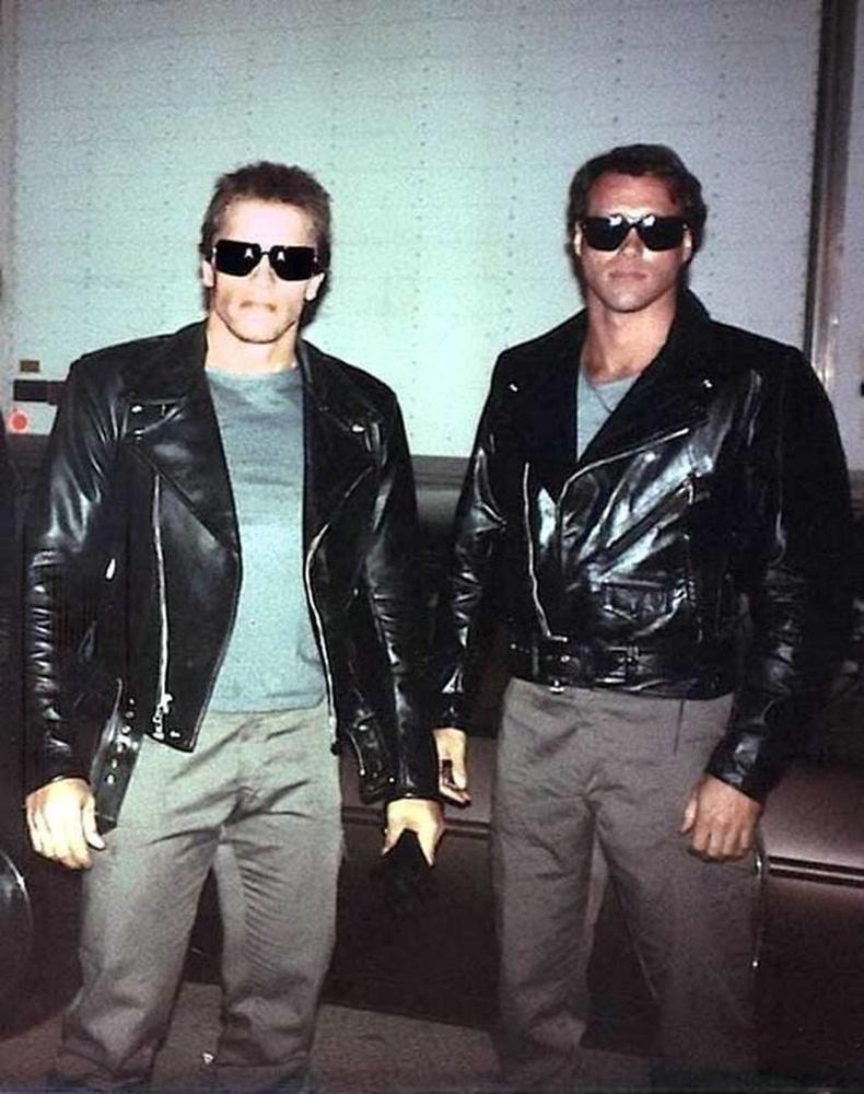 """Арнольд Шварценеггер өөрийн орлон тоглогч Петер Кинтийн хамт, """"Терминатор (1984)"""""""