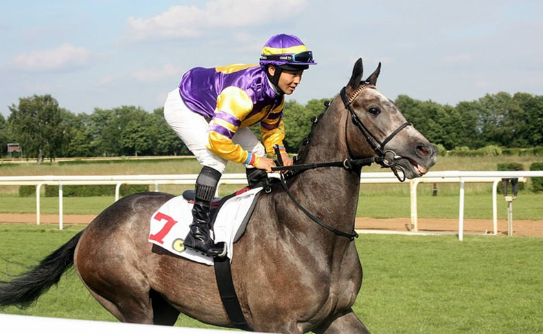 Германд хурдан морь унадаг Монгол залуу