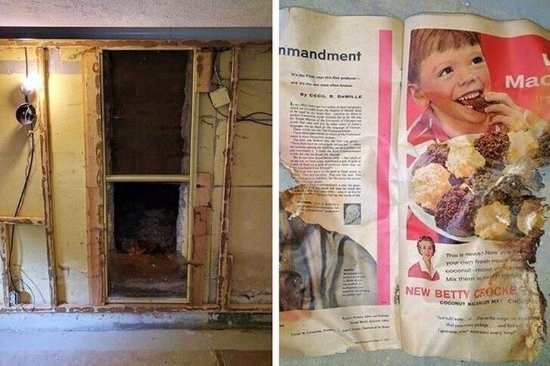 """""""Манай байшингийн доод давхар үерт автчихсан учраас бид ханыг нураасан юм. Гэтэл гэнэт хог чихчихсэн хуучин хаалга гараад ирсэн. Чигжээс дунд нь 1957 оны нэг сэтгүүлийн хуудас хүртэл байсан."""""""