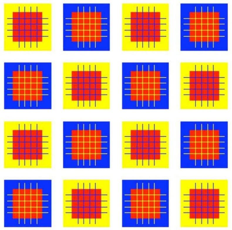 Цэнхэр, шар дөрвөлжин доторх квадратууд ижил өнгөтэй байна уу?
