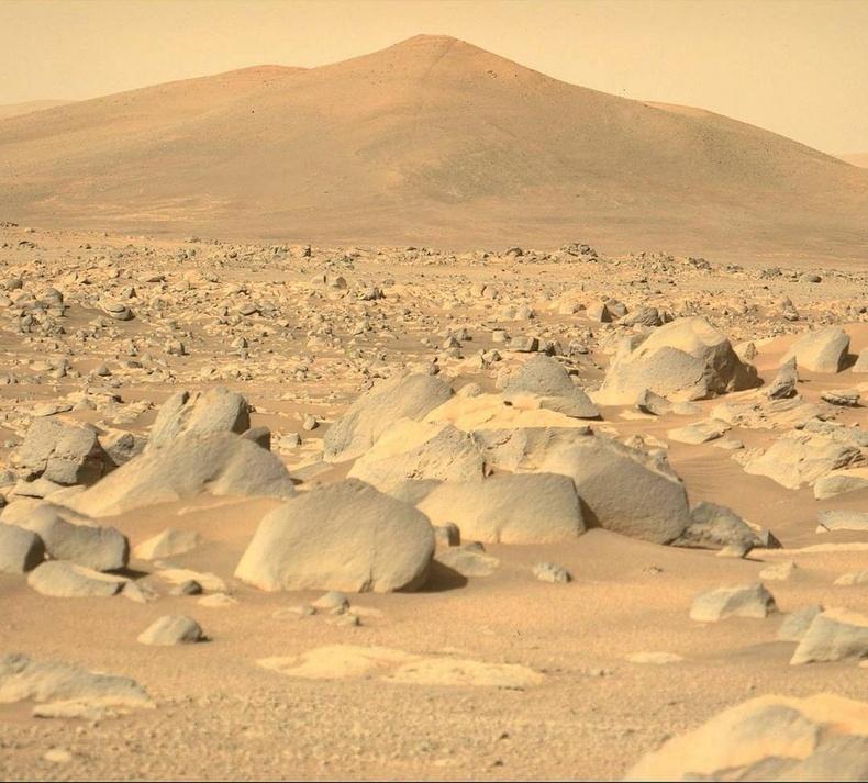 Perseverance хөлгийн авсан Ангараг гаригийн байгалийн зураг. Цаана буй уулыг Санта-Крузын толгой хэмээн нэрлэжээ.