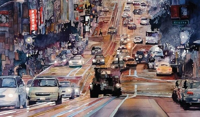 Хотын өнгө үзэмжийг зөвхөн усан будгаар буулгадаг Америк зураачийн бүтээлүүд