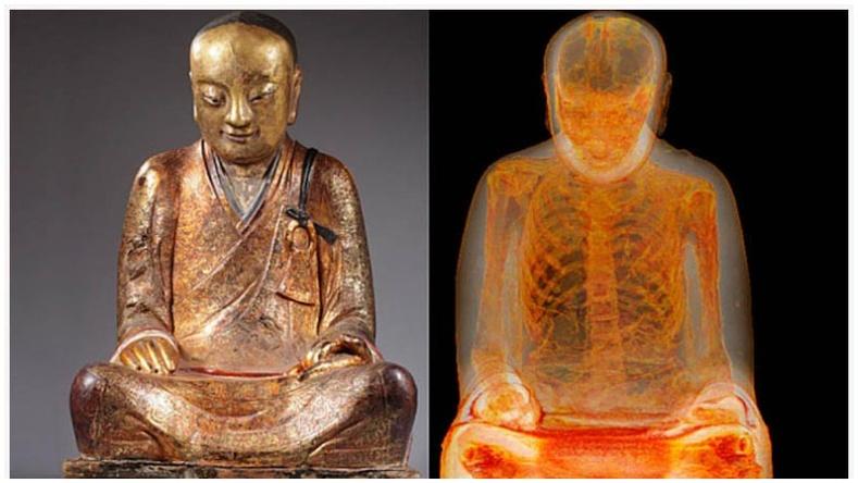 Буддагийн баримал дотроос 1000 жилийн настай занданшуулсан шарил олджээ