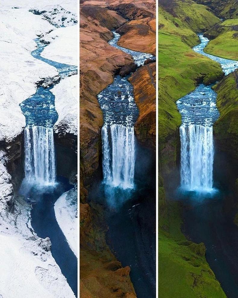 Исландын Скофагоссын хүрхрээ гурван улиралд