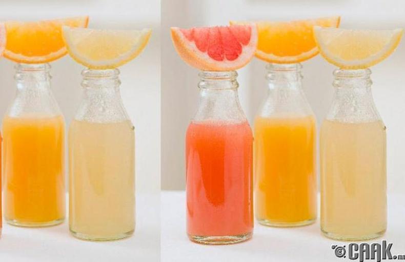 Цитрусын төрлийн жимсний шүүсээр бүтэн биеэ цэвэрлэх