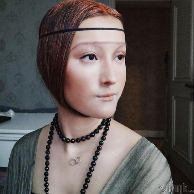 """Леонардо да Винчигийн (Leonardo da Vinci) алдарт уран зураг """"Lady with an Ermine"""""""