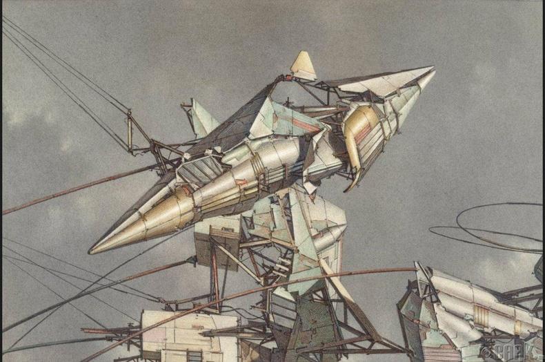 """Леббеус Вудс (Lebbeus Woods) """"Соронзон орны нисэх хүчин"""" - 1989 он"""