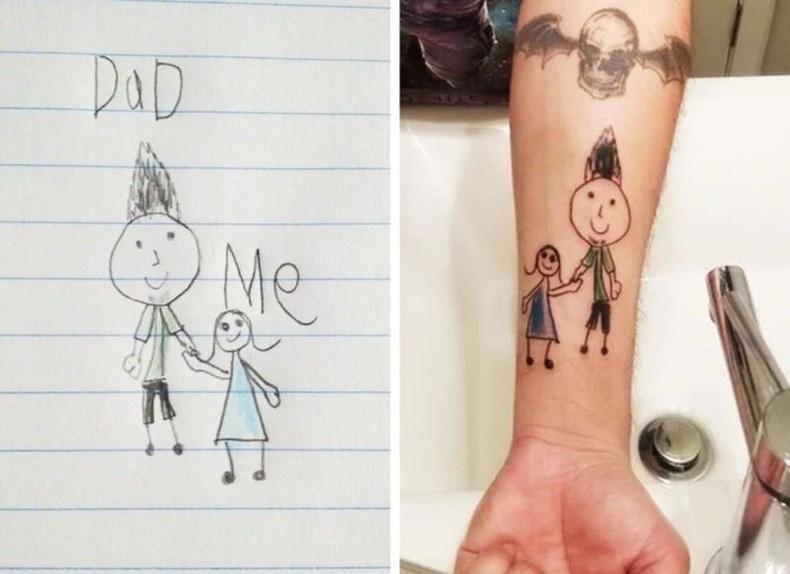 Аав нь охиныхоо зурж өгсөн зургийгшивээс болгожээ.