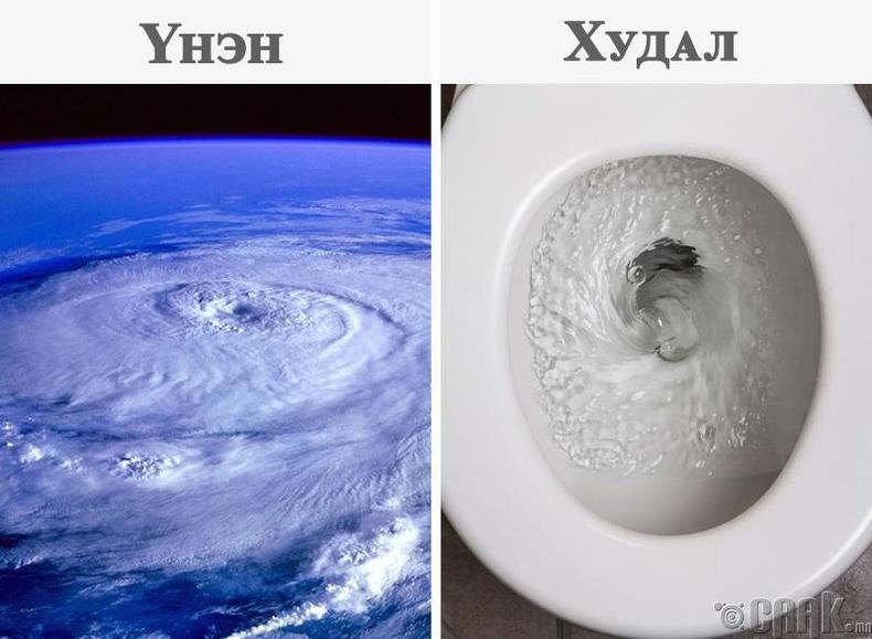 Бид бодохдоо: Усны урсгал өөр өөрөөр эргэлддэг