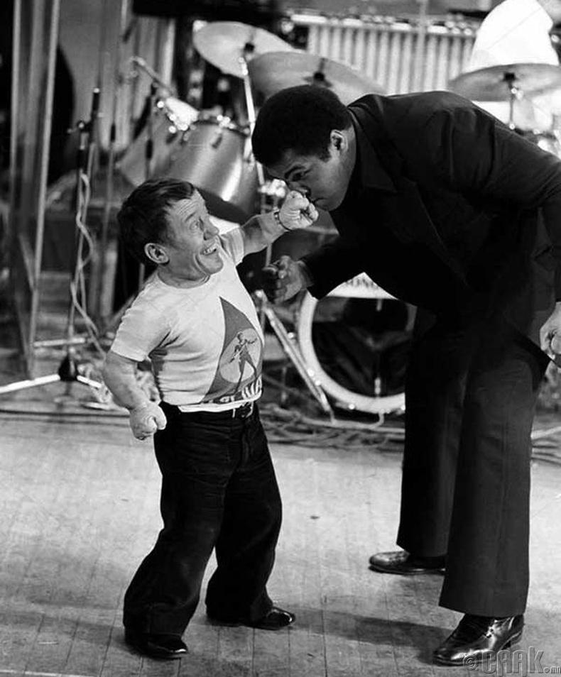 Жүжигчин Кенни Бэйкер (Kenny Baker), боксын аварга Мухаммад Али (Muhammad Ali) нар - 1979 он
