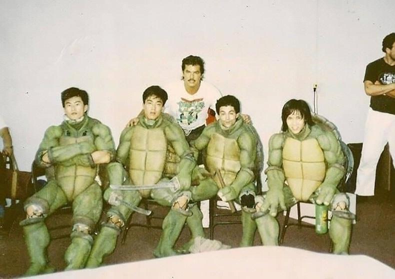 """""""Мэлхий нинжа"""" киноны зураг авалтын үеэр, 1989"""