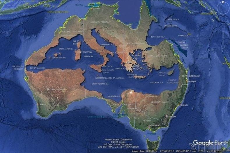 Хэрэв Газар дундын тэнгисийг Австрали тив дотор байрлуулвал: