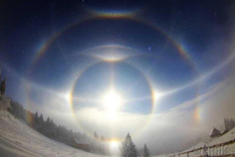"""Нарны тусгал агаар дахь мөсөн талст эсвэл өндрийн үүлээр нэвтрэхдээ хугарснаас болж """"гурван нар"""" үүсдэг"""