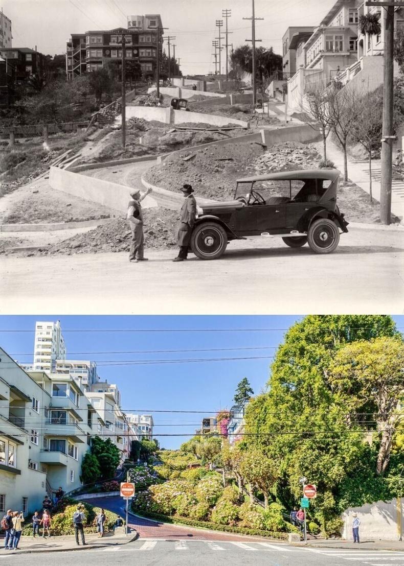 Ломбард гудамж, Сан Франциско - 1922 онд болон 2018 онд