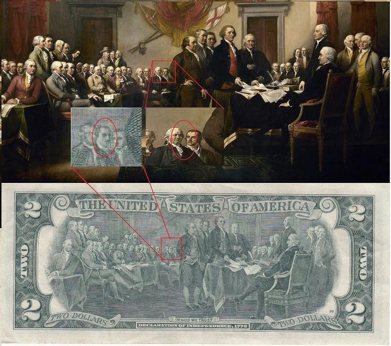 2 ам.долларын дэвсгэрт дээрх сүнс