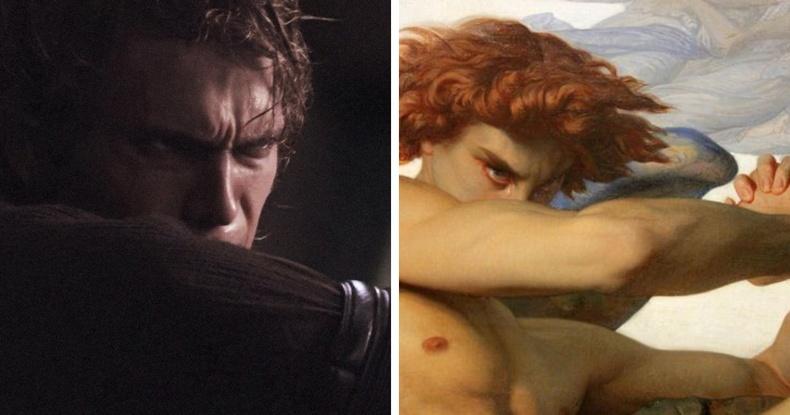 """""""Оддын дайн: Ситийн өшөө авалт"""" (2005), найруулагч Жорж Лукас - """"Газарт буусан тэнгэрийн элч"""", зураач Александр Кабанел, 1847"""