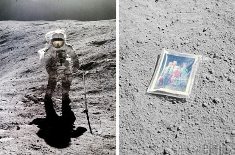 Сансрын нисэгч Чарльз Дьюк гэр бүлийнхээ зургийг саран дээр үлдээжээ, 1972 он
