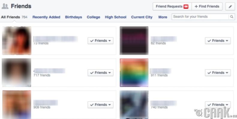 Фэйсбүүкт хэт их, эсвэл хэт бага найзтай байх
