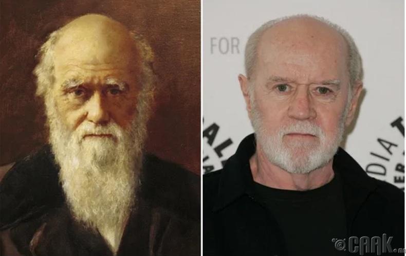 Английн натуралист Чарлз Дарвин болон хошин шогч Жорж Карлин (Charles Darwin, George Carlin)