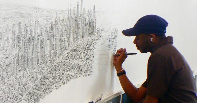 Аутизмтай зураач Нью-Йоркийг ганцхан удаа хараад, шууд цаасан дээр буулгажээ